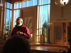 Jody Hirsch speaking to us in Congregation Emanu-El B'ne Jeshurun's sanctuary.